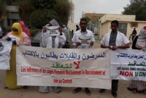 عاجل تظاهرة للممرضين والقابلات تطالب بالاكتتاب